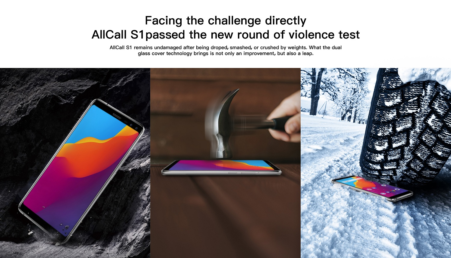 AllCall S1 screen: dual glass cover makes the toughness out of imagination
